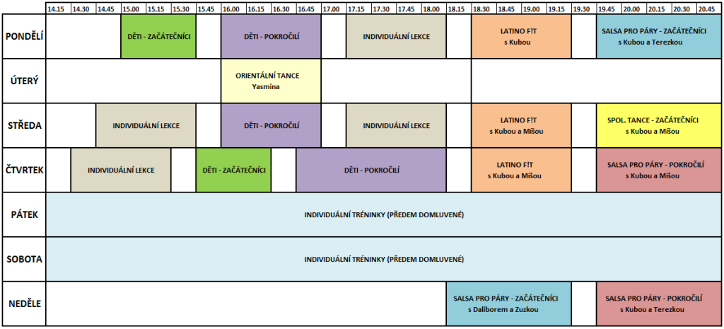 MG Dance studio - rozpis kurzů
